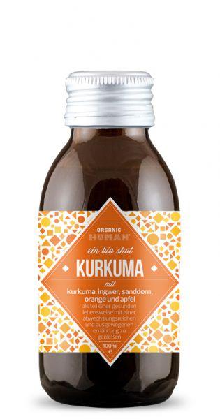 Organic Human - gesunder Energy Shot, Kurkuma 0,1l Glas