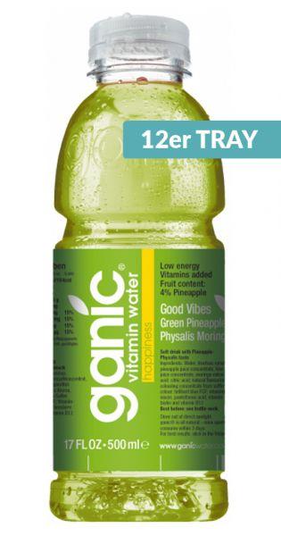 ganic Vitaminwater - Good Vibes, Ananas, Kiwi und Physalis 0,5l PET (12er Tray)