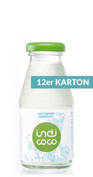 indi coco - reines Kokosnusswasser 0,21l Glas (12er Karton)