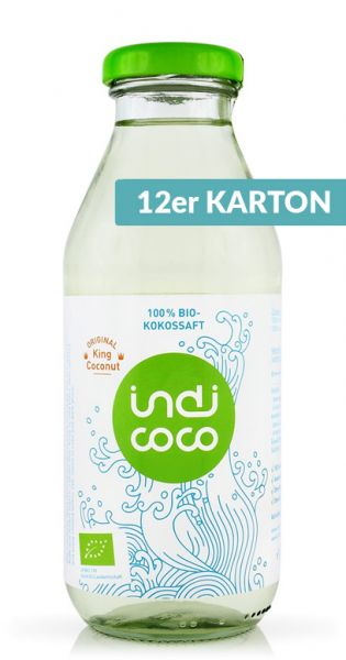 indi coco - Organic Kokosnusswasser 0,35l Glas (12er Karton)