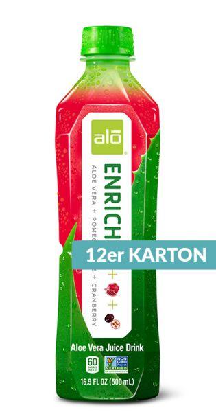 ALO Drink - ENRICH, Aloe Vera, Granatapfel und Cranberry - 0,5l (12er Karton)
