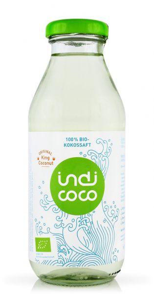 indi coco - Organic Kokosnusswasser, 0,35l Glas-Flasche