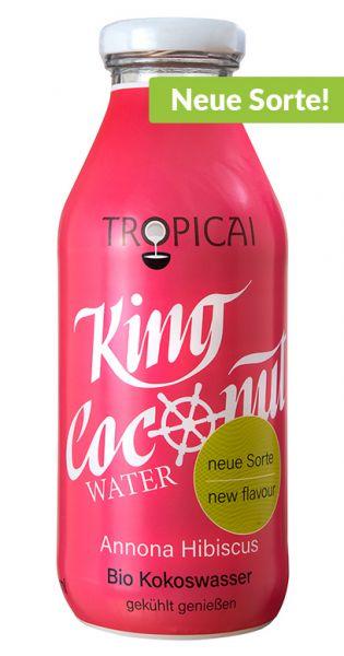 King Coconut Water - Stachelannone und Hibiskus 0,35l Glas