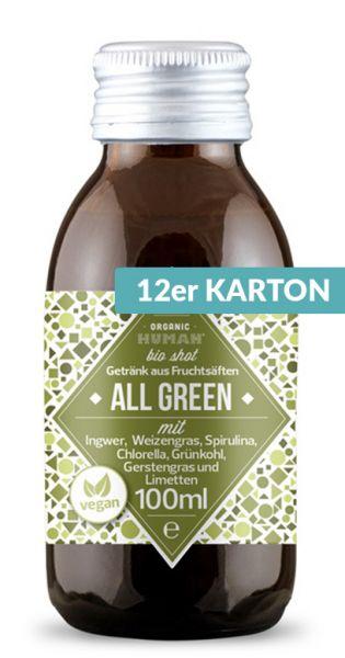 Organic Human - gesunder Bio Energy Shot, All Green (DE-ÖKO-003) - 0,1l (12er Karton)