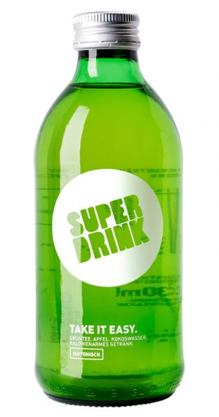 Superdrink - Take it Easy, isotonisch, Gruentee, Apfel, Kokoswasser 0,33l Glas