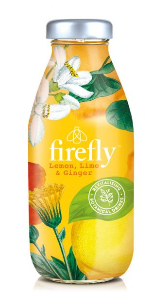 firefly natural drinks - yellow: Lemon, Lime & Ginger 0,33l Glas
