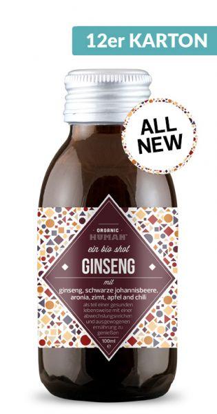 Organic Human - gesunder Energy Shot, Ginseng 0,1l Glas (12er Karton)