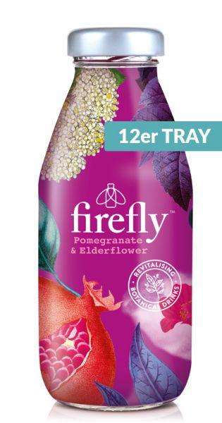 firefly natural drinks - purple: Granatapfel, Lime & Elderflower 0,33l Glas (12er Tray)