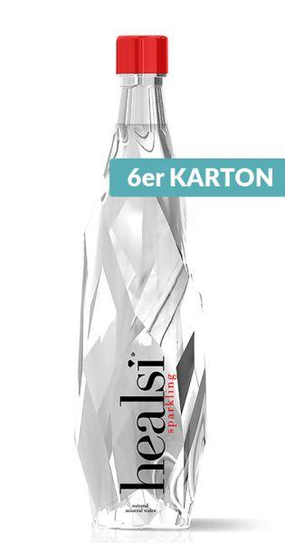 healsi Wasser - Diamant Flasche, crystal, sprudelig - 0,85l (6er Karton)