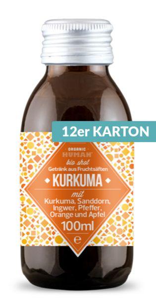 Organic Human - gesunder Bio Energy Shot, Kurkuma (DE-ÖKO-003) - 0,1l (12er Karton)