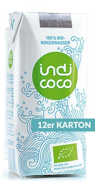 indi coco - Organic Kokosnusswasser 0,33l Tetra-Pak (12er Karton)