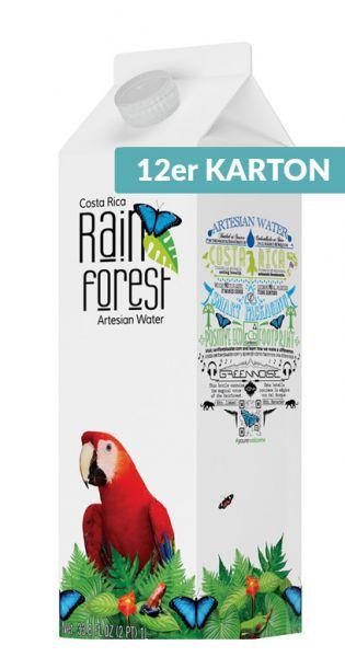 Rain Forest Water - Artesisches Wasser aus Costa Rica - still 1l Tetra-Pak (12er Karton)
