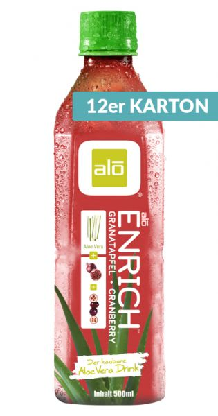 ALO Drink - ENRICH, Aloe Vera, Granatapfel und Cranberry 0,5l (12er Karton)