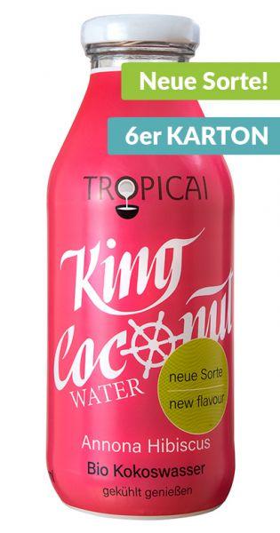 King Coconut Water - Stachelannone und Hibiskus 0,35l Glas (6er Karton)