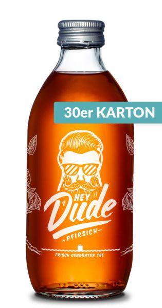 Hey Dude - Eistee Pfirsich 0,33l Glas (30er Kiste)