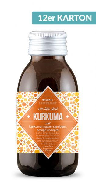 Organic Human - gesunder Energy Shot, Kurkuma 0,1l Glas (12er Karton)