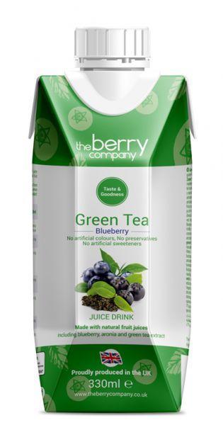 The Berry Company - Grüner Tee, Blaubeere 0,33l - Tetra-Pak