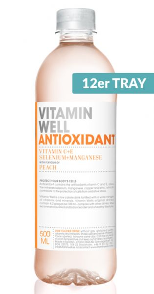 Vitamin Well - Antioxidant, Pfirsich - 0,5l (12er Tray)
