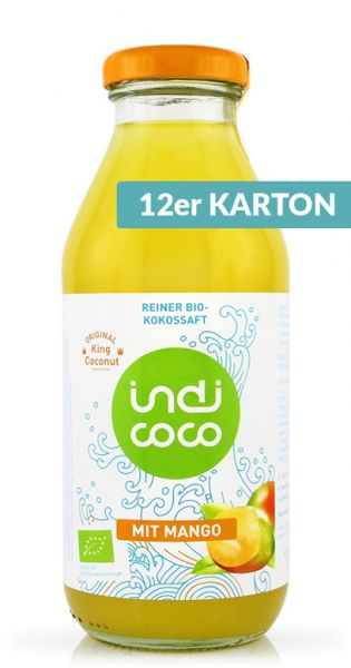 indi coco - Organic Kokosnusswasser mit Mango 0,35l (12er Karton)