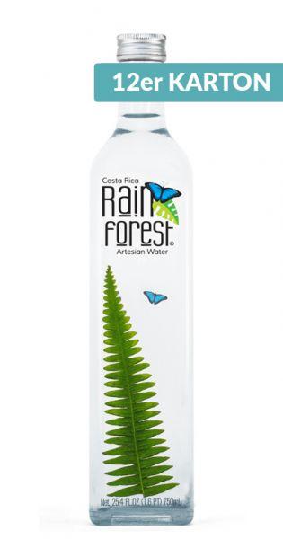 Rain Forest Water - Artesisches Wasser aus Costa Rica - still 0,75l Glas-Flasche (2 x 6er Karton)