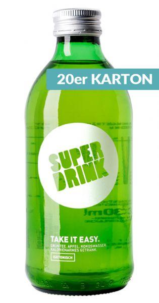 Superdrink - Take it Easy, isotonisch, Gruentee, Apfel, Kokoswasser 0,33l Glas (20er Karton)