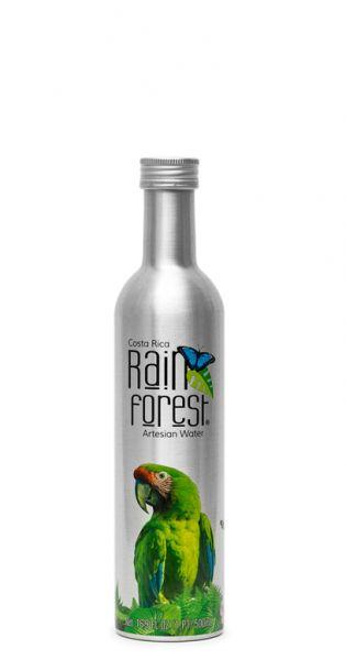 Rain Forest Water - Artesisches Wasser aus Costa Rica, still - 0,5l Alu-Flasche