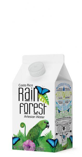 Rain Forest Water - Artesisches Wasser aus Costa Rica - still 0,5l Tetra-Pak