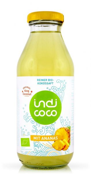 indi coco - Organic Kokosnusswasser mit Ananas 0,35l Glas
