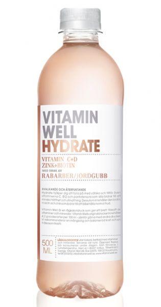 Vitamin Well - Hydrate, Erdbeer und Rhabarber - 0,5l (Einzel PET)