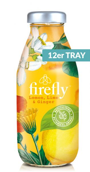 firefly natural drinks - yellow: Lemon, Lime & Ginger 0,33l Glas (12er Tray)