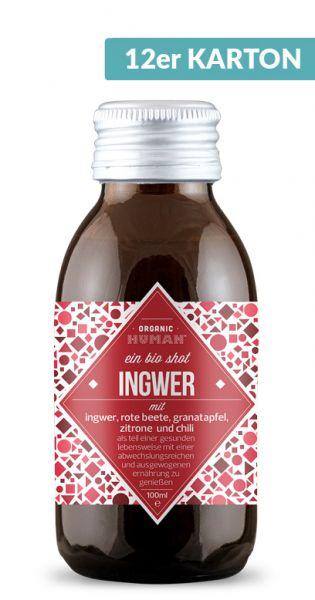 Organic Human - gesunder Energy Shot, Ingwer 0,1l Glas (12er Karton)