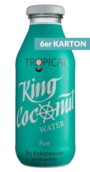 King Coconut Water - pures Kokosnusswasser 0,35l Glas (6er Karton)