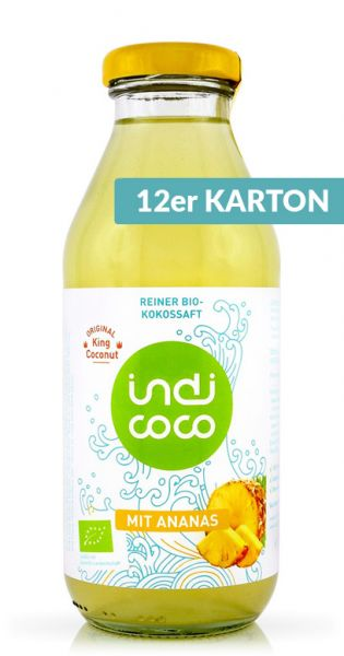 indi coco - Organic Kokosnusswasser mit Ananas 0,35l Glas (12er Karton)