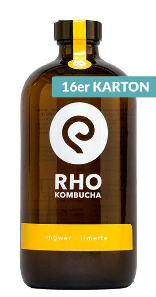 RHO Kombucha - Ingwer, Limette - 0,473l (25er Karton)