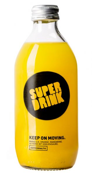 Superdrink - Keep on Moving, koffeinhaltig, Maracuja, Orange, Mandarine 0,33l Glas