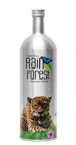 Rain Forest Water - Artesisches Wasser aus Costa Rica, still - 1,3l Alu-Flasche