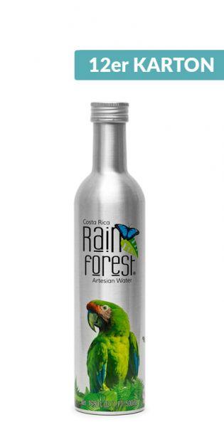 Rain Forest Water - Artesisches Wasser aus Costa Rica - still 0,5l Alu-Flasche (12er Karton)