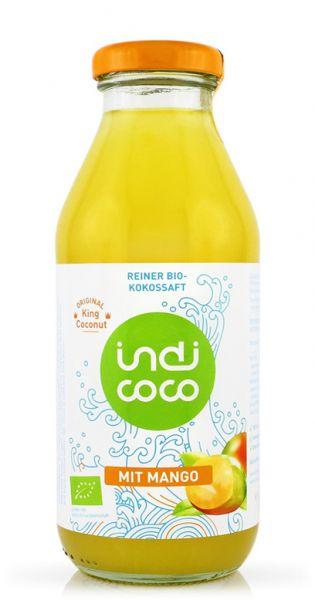 indi coco - Organic Kokosnusswasser mit Mango 0,35l Glas
