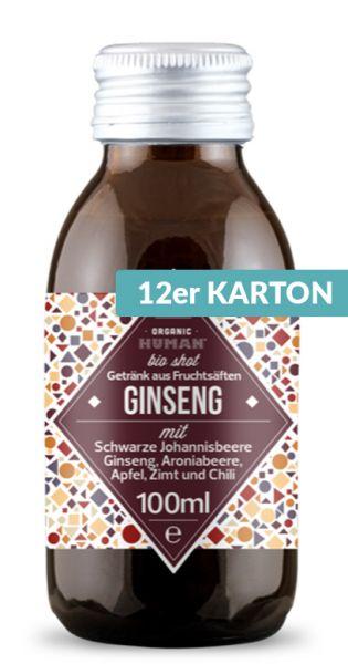 Organic Human - gesunder Bio Energy Shot, Ginseng (DE-ÖKO-003) - 0,1l (12er Karton)